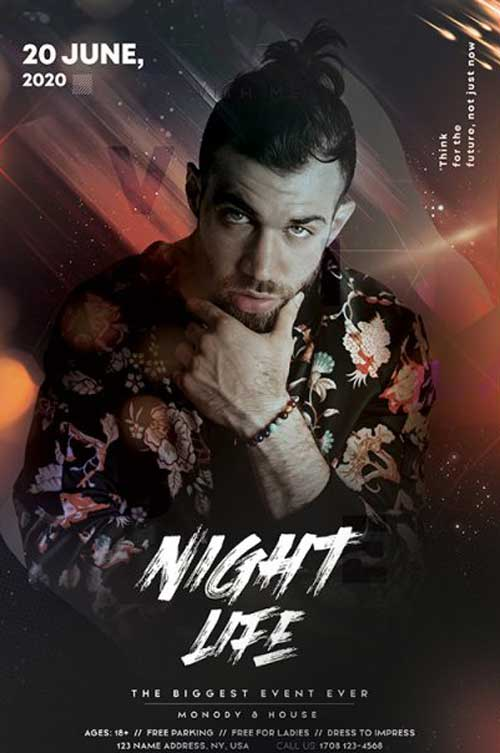 Night Life Vibe Party Free Flyer Template
