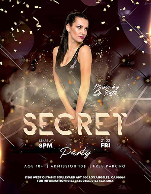 Secret Party Free Flyer Template