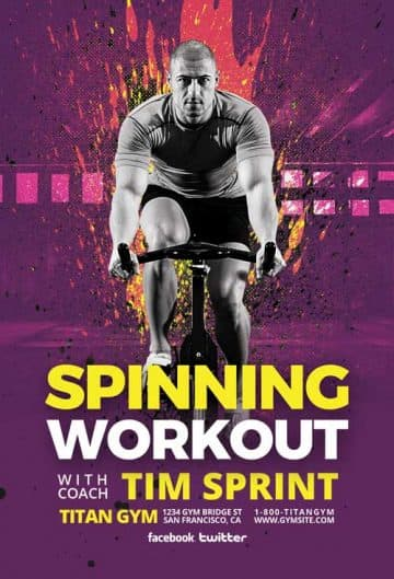 Spinning Workout Free Gym Flyer Template