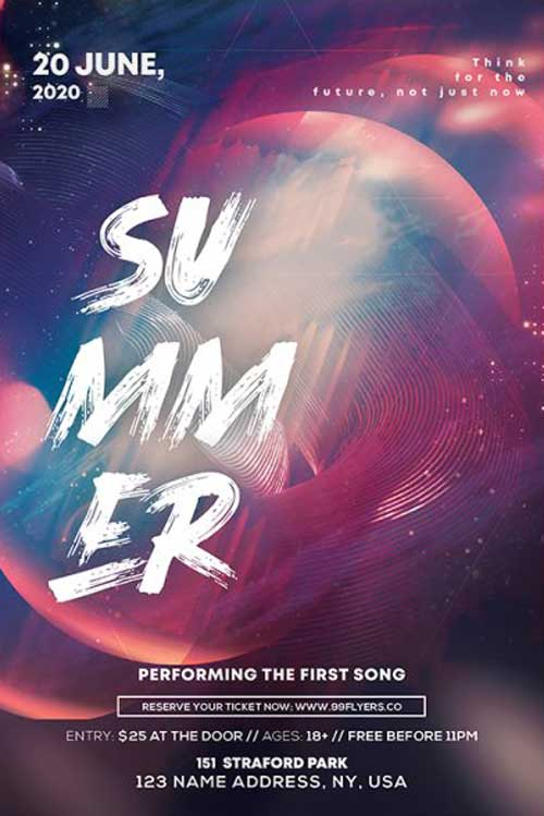 Summer Club Party Free Flyer Template