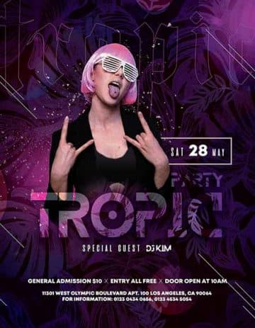 Tropic Party Free Flyer Template