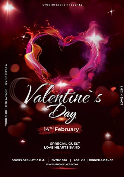 Valentines Day Club Free PSD Flyer Template
