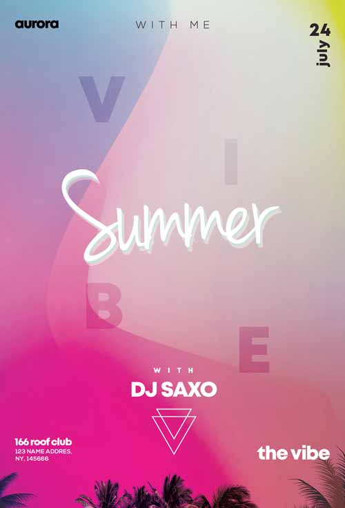 Vivid Summer Party Free PSD Flyer Template