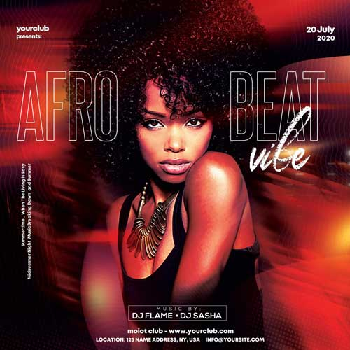 Afro Beat Party Free PSD Flyer Template