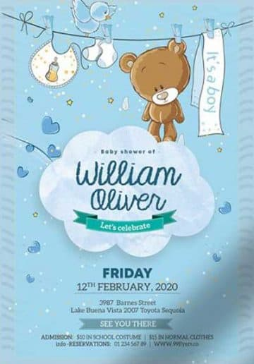 Baby Boy Birth Announcement Free Flyer Template