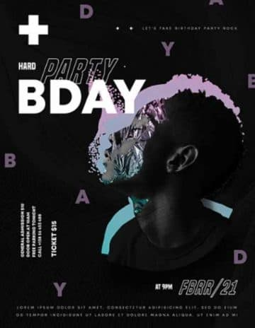 Birthday Club Party Flyer PSD Template