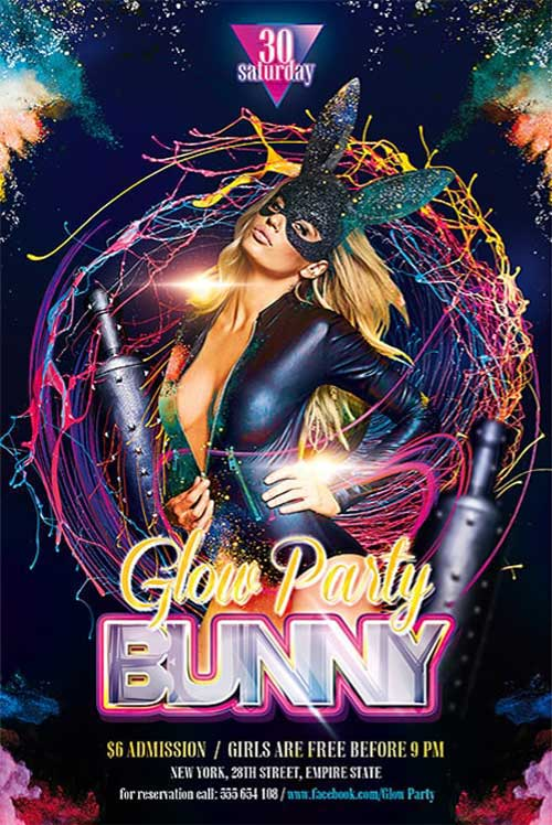 Bunny Glow Party Free PSD Flyer Template
