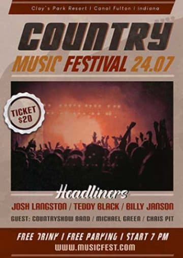 Country Rock Music Festival Free Flyer Template
