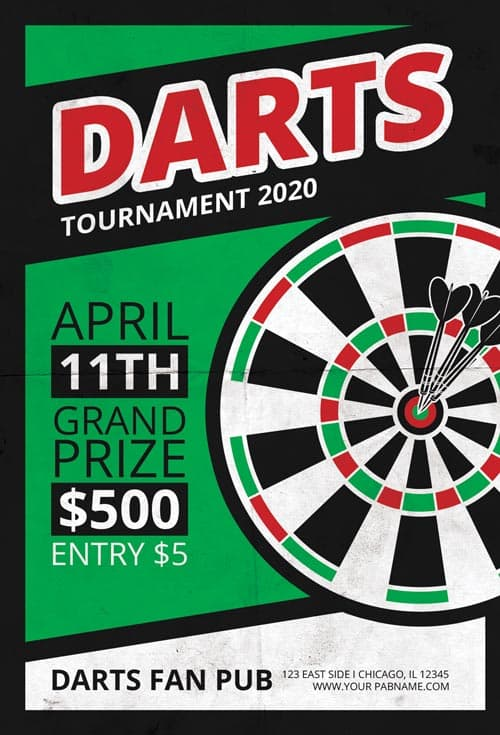 Free Darts Tournament Flyer PSD Template