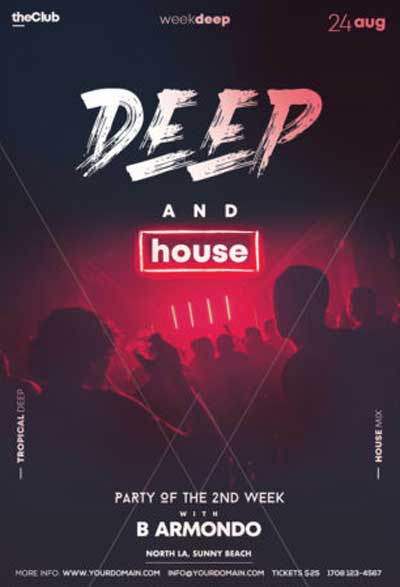 Deep House Party Free Flyer Template