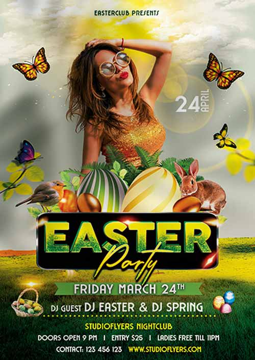 Easter Club Party Free PSD Flyer Template