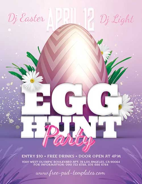 Easter Egg Hunt Party Free PSD Flyer Template