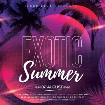 Exotic Summer Party Free PSD Flyer Template