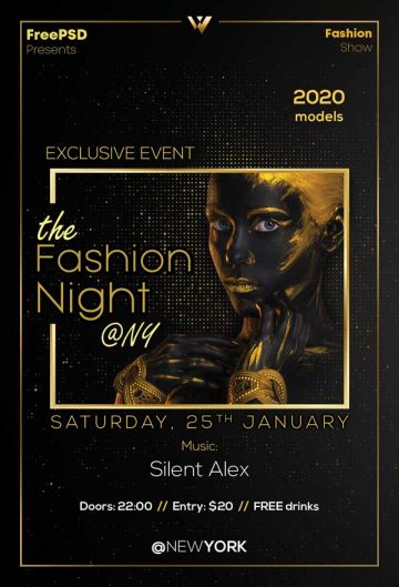Fashion Night Free PSD Flyer Template