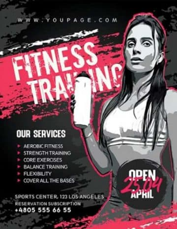 Free Fitness Training Flyer PSD Template