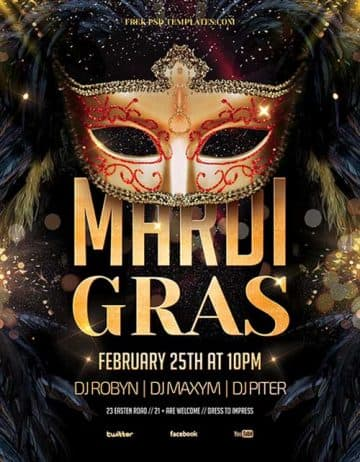 Free Mardi Gras Party Flyer PSD Template