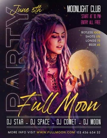 Full Moon Party Free Flyer Template