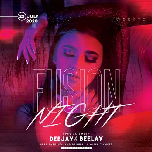 Fusion Night Party Free Flyer Template