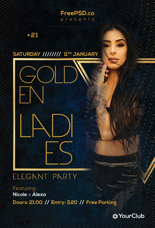 Golden Ladies Party Free Flyer Template