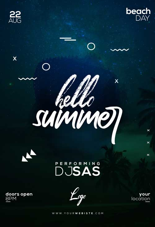 Hello Summer Party Free Flyer Template