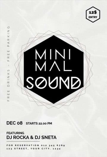 Minimal Music Night Party Free Flyer Template