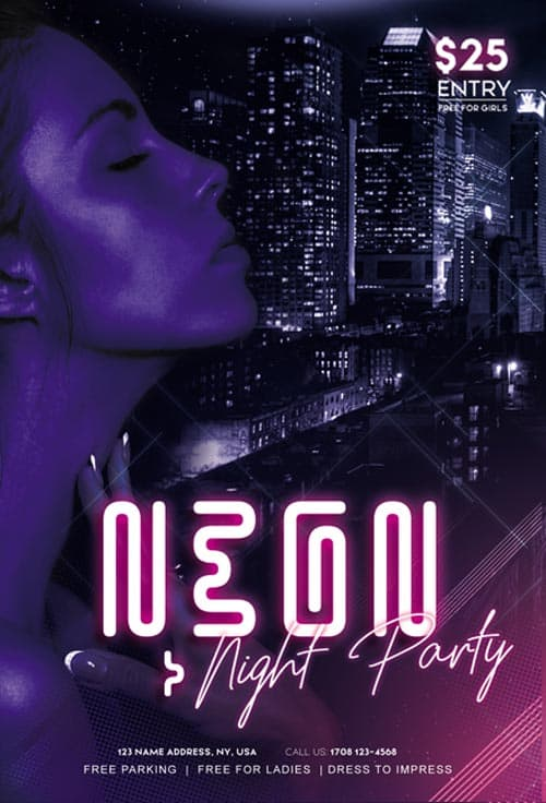 Neon Night Club Party Free Flyer Template