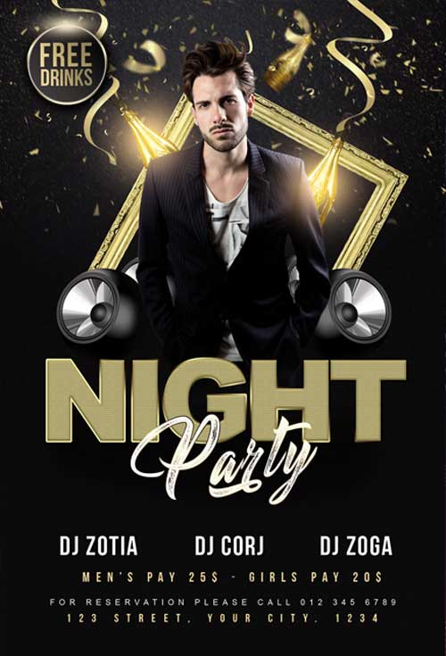 Night Club DJ Free Flyer Template