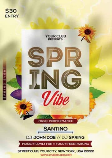 Spring Vibe Free Party Flyer Template