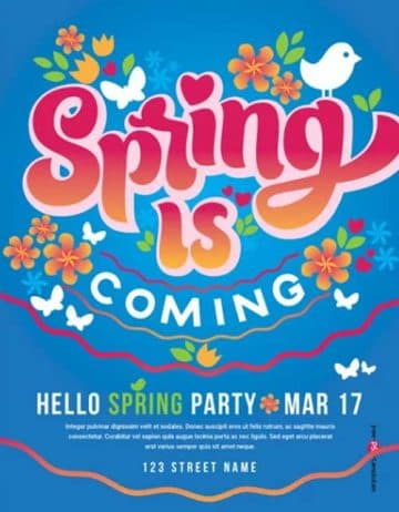 Spring is Coming Party Free Flyer Template
