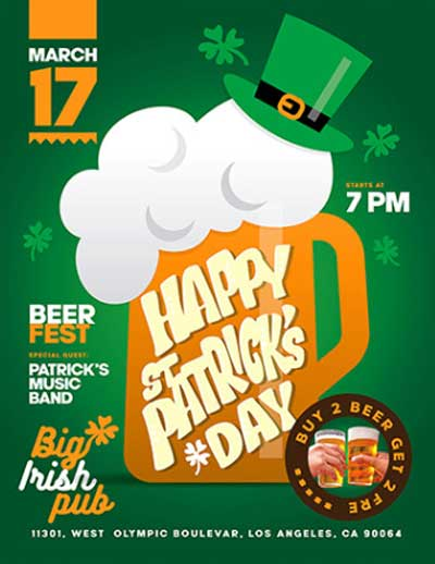 St Patricks Day Party Free Flyer and Poster Template