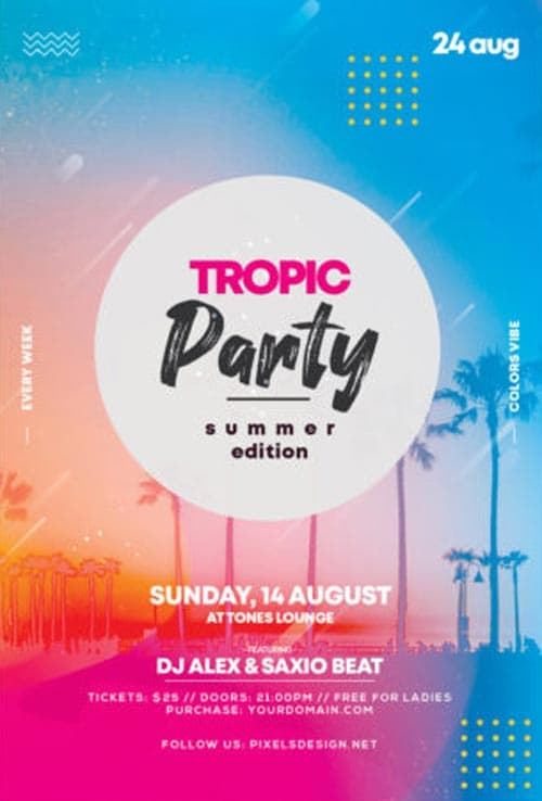 Tropic Party Free PSD Flyer Template