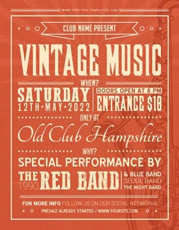 Vintage Music Free Flyer Template