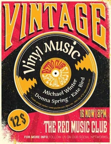 Vintage Vinyl Party Free Flyer Template