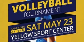 Volleyball Tournament Free PSD Flyer Template