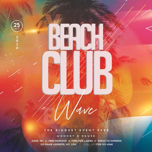 Beach Club Party Free PSD Flyer Template