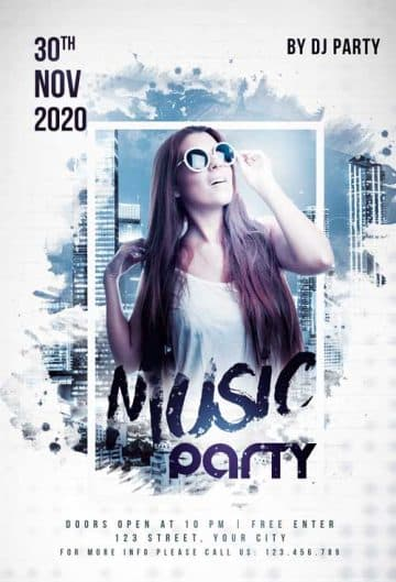 Club Music Party Free Flyer Template