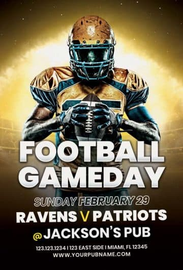 Free American Football Game Day Flyer Template
