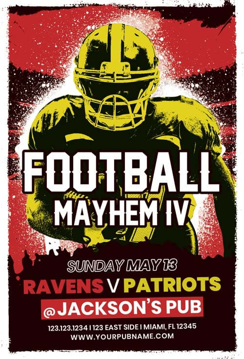 Free American Football Game Flyer Template