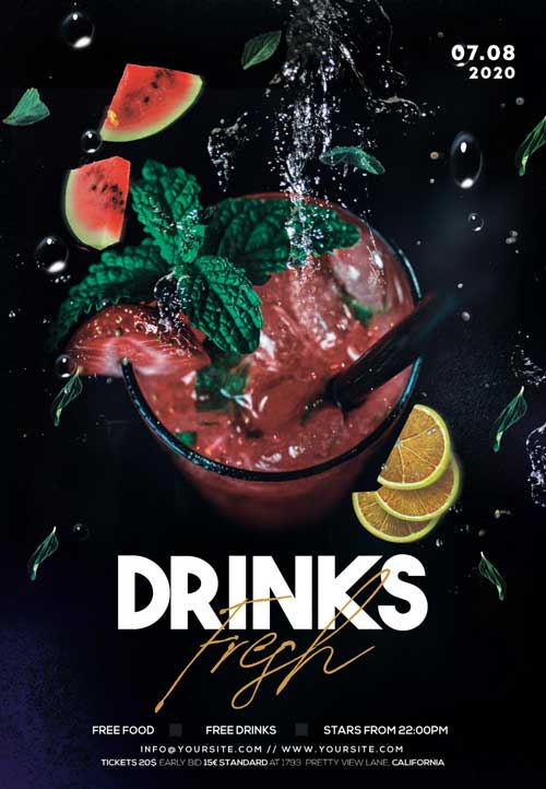 Free Cocktails Night Party Flyer Template