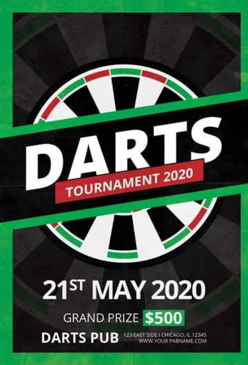 Free Darts Tournament Flyer Template