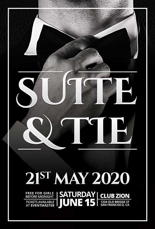 Elegant Suite & Tie Party Free Flyer Template