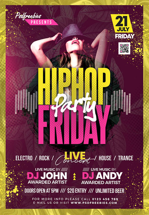 Free HipHop Friday Party Flyer Template