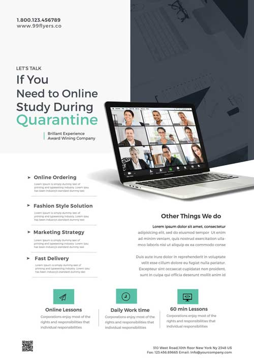 Free Home E-Learning Flyer Template