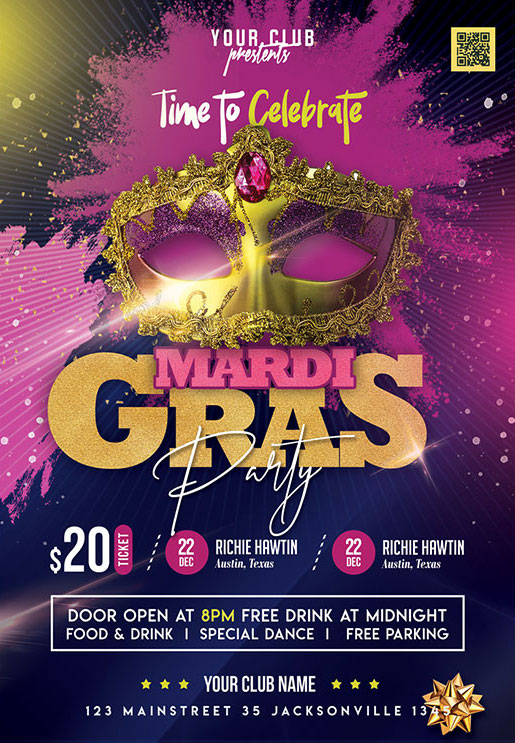Free Mardi Gras PSD Party Flyer Template