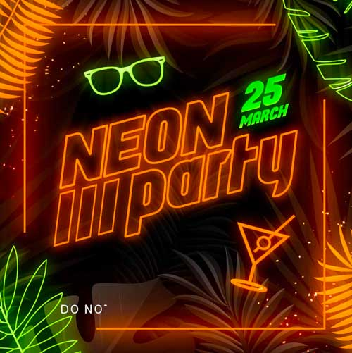Free Neon Party Flyer PSD Template