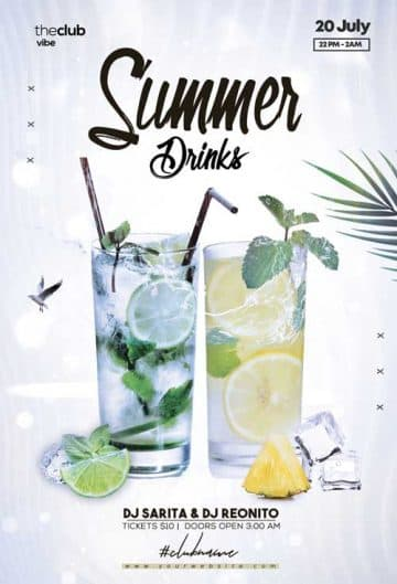 Free Summer Drinks Flyer Template