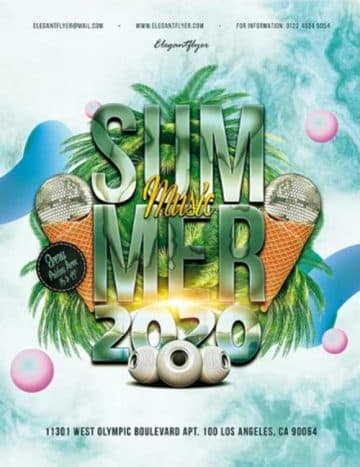 Free Summer Music Party Flyer Template