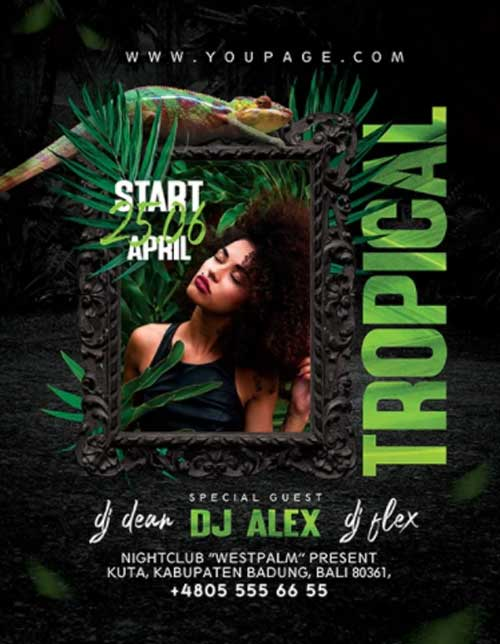 Free Tropical Club Party Flyer Template