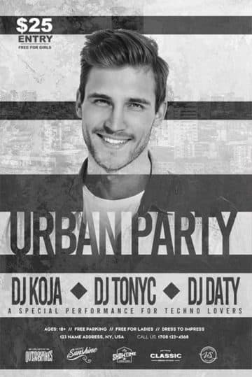 Free Urban DJ Party Flyer Template