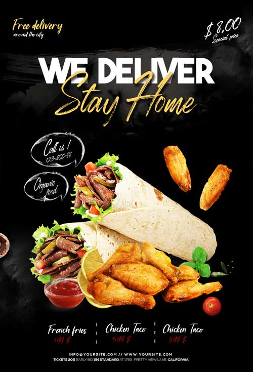 Home Delivery Free Food Flyer PSD Template